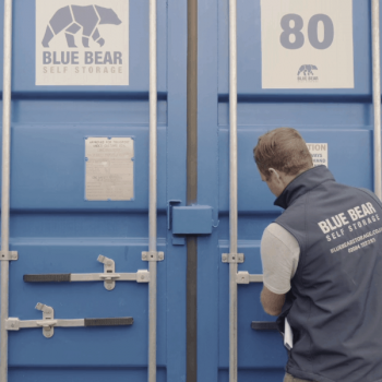 Opening a container at our Blue Bear Peterfield Self-Storage site